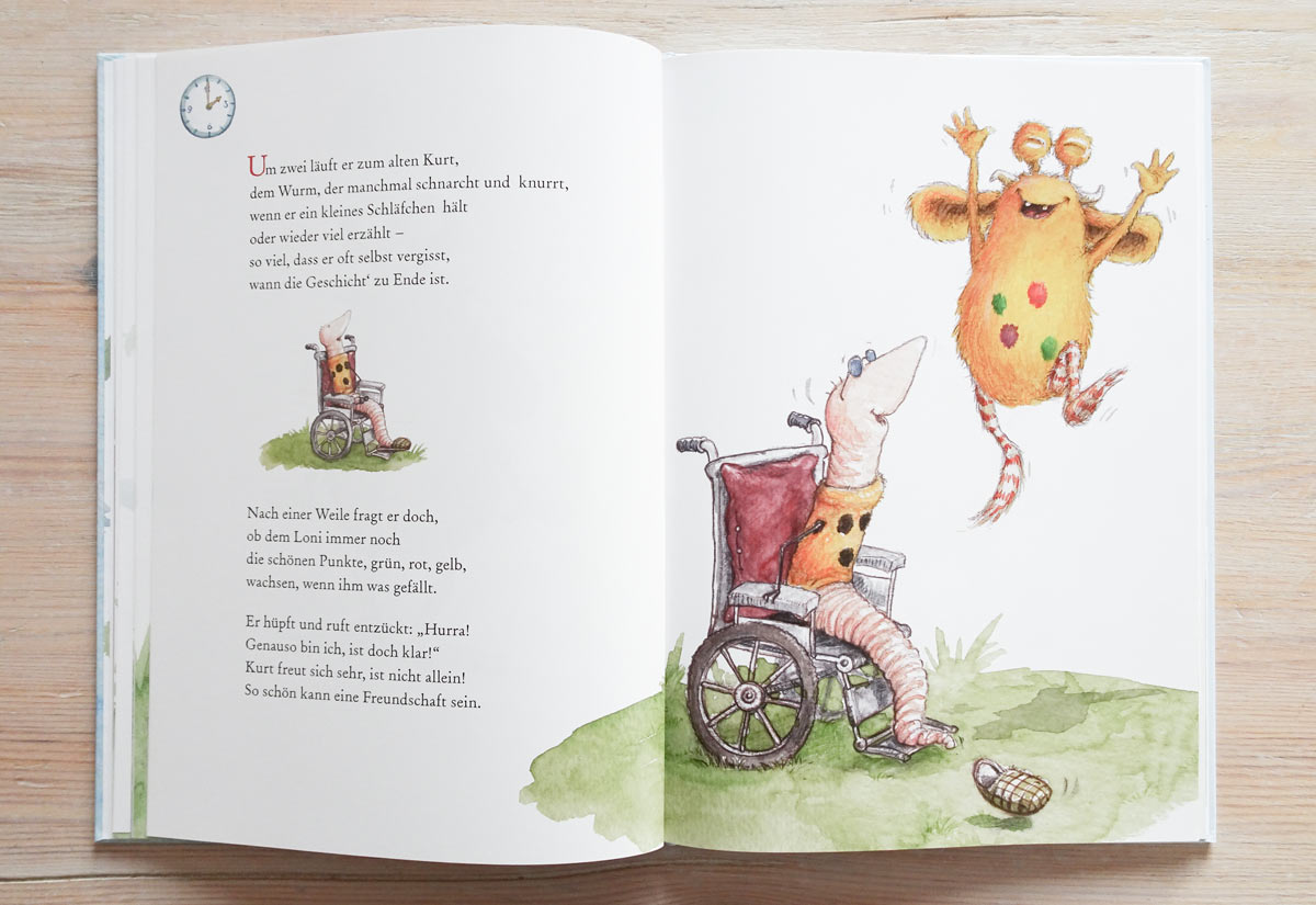Blick ins Buch: Loni beim alten, blinden Wurm Kurt